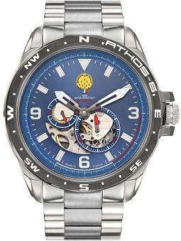 Montre homme Patrouille de France automatique Athos 6 bracelet acier fond bleu 668073