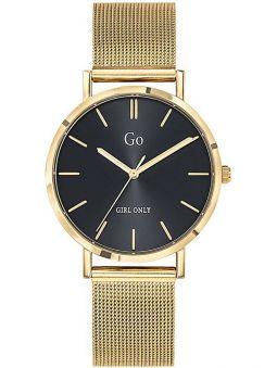 Montre femme Go bracelet milanais doré jaune fond noir 695264
