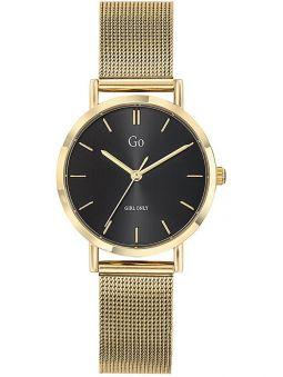 Montre femme Go bracelet milanais doré jaune fond noir 695941