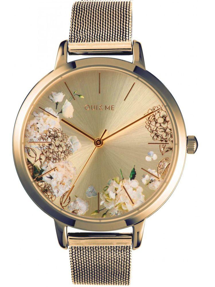 Montre femme Oui & Me grande fleurette  bracelet milanais jaune_1