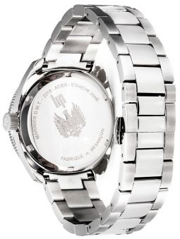 Montre LIP MARINIER GMT bracelet acier fond vert 671374_3