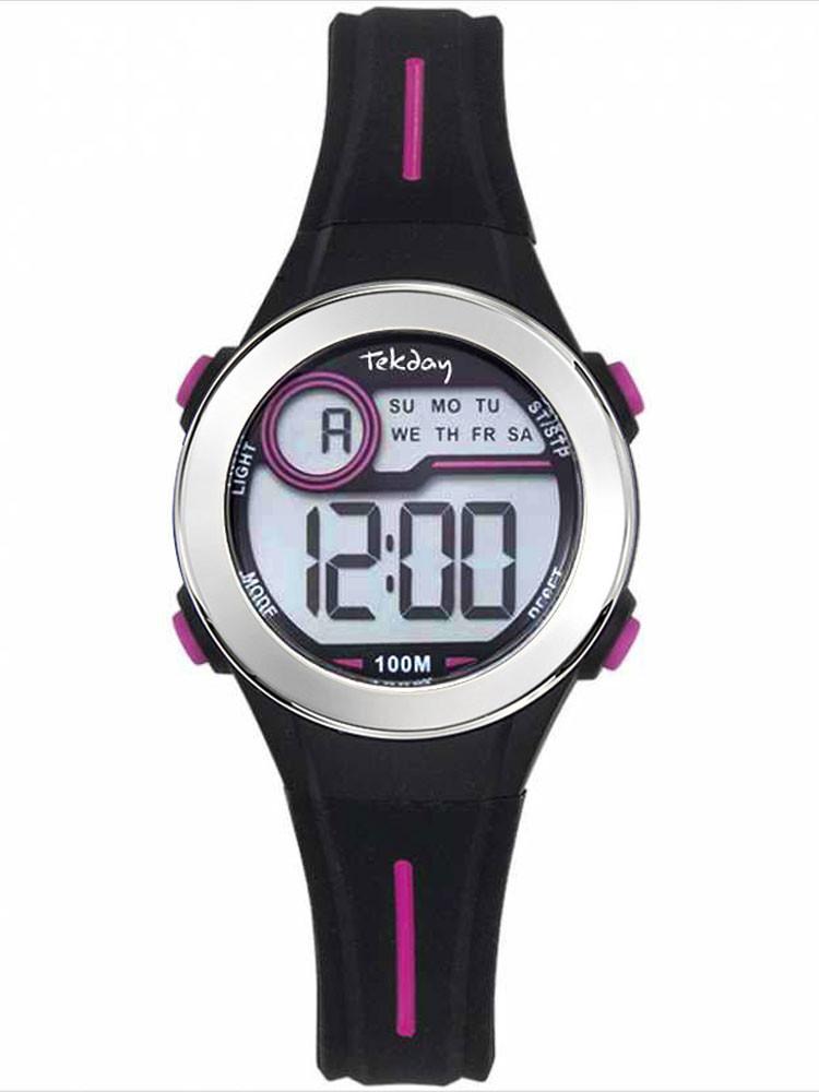 Montre digitale sport Tekday noire rose avec chronomètre 654694