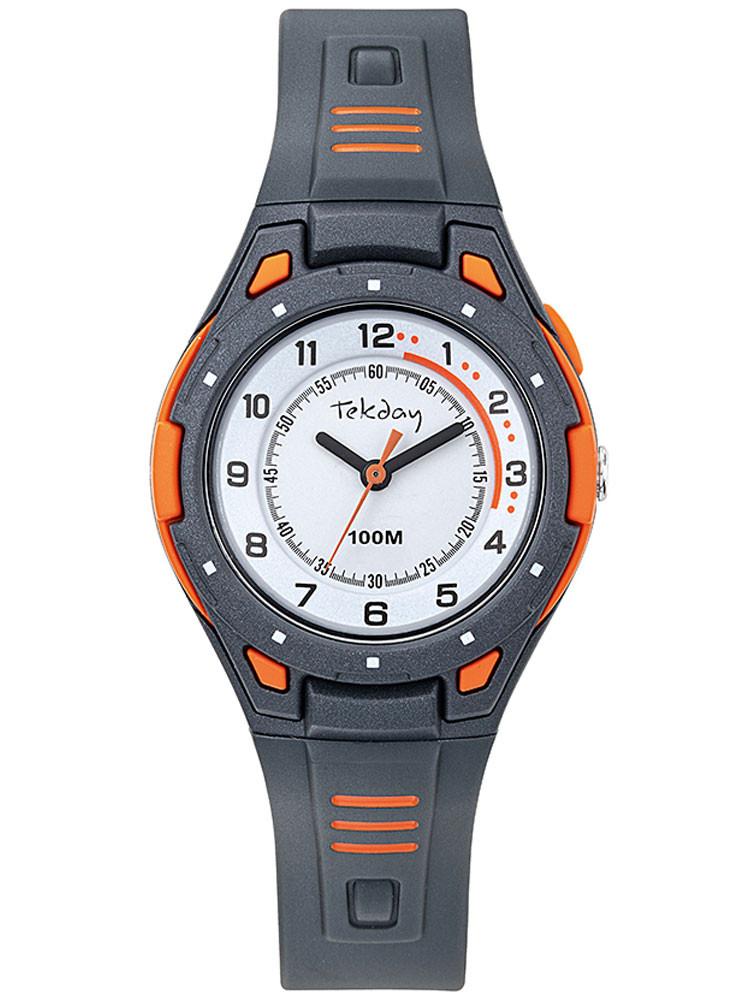Montre sport Tekday enfant gris orange écran pédagogique 654699