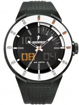 Montre homme sport Ruckfield noir orange 685098