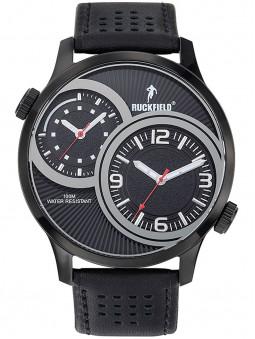 Montre double fuseau horaire cuir noir Ruckfield 685101
