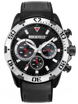 Montre noire acier Ruckfield jour date bracelet cuir silicone 685072