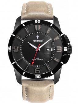 Montre Ruckfield cadran noir sport étanche bracelet marron 685082