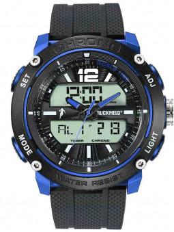 Vue de face, montre sport double affichage Ruckfield bleu noir 685089