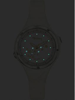 Montre enfant Tekday blanche avec étoiles lumineuses 654677 de nuit