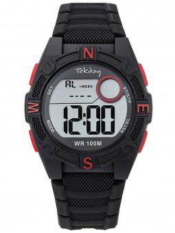 Montre digitale sport Tekday rouge noir avec chrono 654703