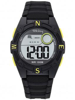 Montre digitale sport Tekday noir vert anis avec chrono 654702