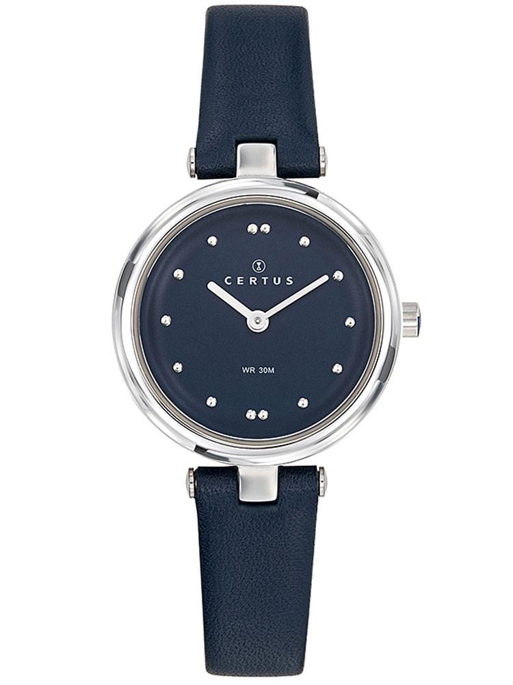 Montre Certus femme bracelet cuir bleu foncé 644441