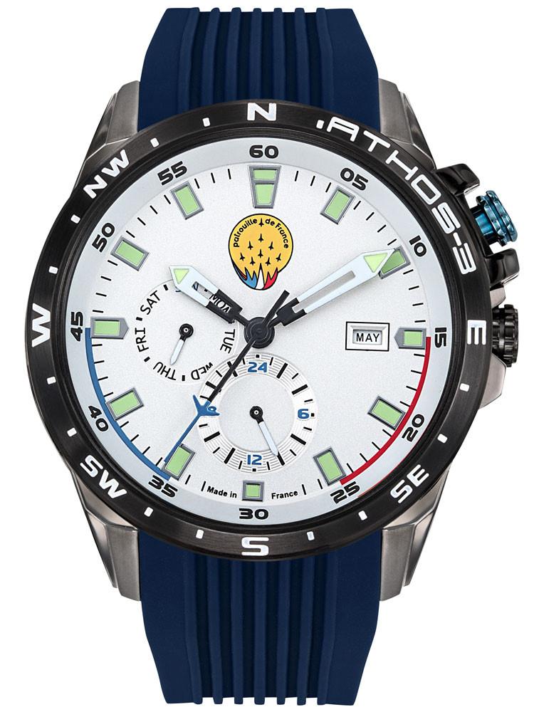 Montre avec la marque Patrouille de France, catégorie Athos3, multifonction, bracelet bleu, référence 668036, pour homme