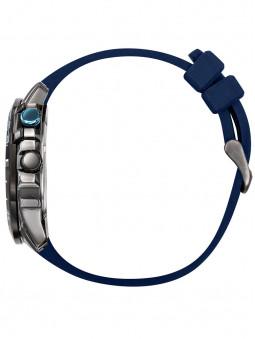 Montre, vue de profil, marque Patrouille de France, catégorie Athos3, pour homme, bracelet silicone bleu, référence 668036