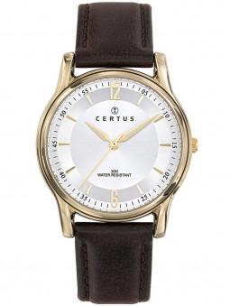 Montre Certus cuir marron foncé cadran blanc 611250