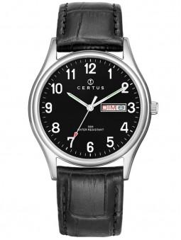 Montre Certus cuir noir facon croco 610656