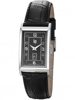 Montre LIP Churchill T18 bracelet cuir noir façon croco 671272