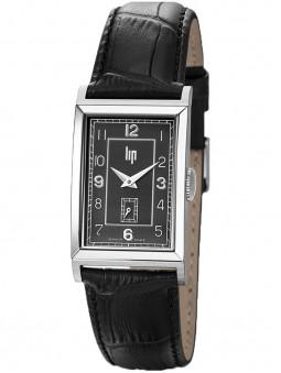 Montre made in France LIP Churchill T18 bracelet cuir noir façon croco 671272