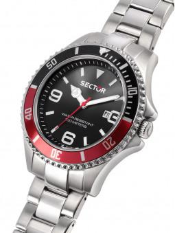 Cadran noir, lunette sport noire rouge, montre Sector 230, homme, R3253161021