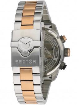 Bracelet acier bicolore, fermoir boucle déployante simple sécurisée, montre homme sport, marque Sector No Limits