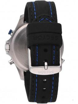 Fermoir, bracelet silicone noir et bleu, montre sport, Sector No Limits, R3251506001