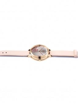 montre entiere, bracelet rose poudre, fleur dans le cadran, marque oui and me