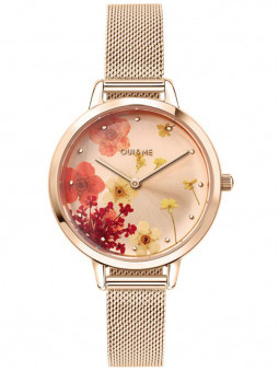 Montre Oui and Me, design floral, dorée rose, référence ME010250