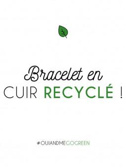inscription, bracelet de montre en cuir recyclé
