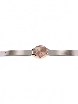 Montre entiere Oui and Me, double bracelet, en cuir recycle, couleur rose