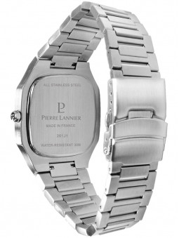 Bracelet en acier gris argente, finition brute, montre Pierre Lannier pour homme, collection Contraste 262J131