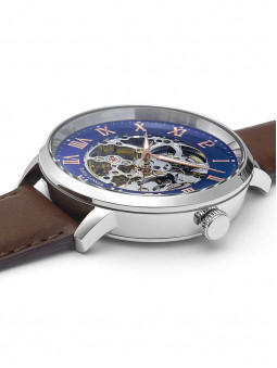 Bracelet en cuir brun et cadran squelette de montre, Pierre Lannier, 322B164