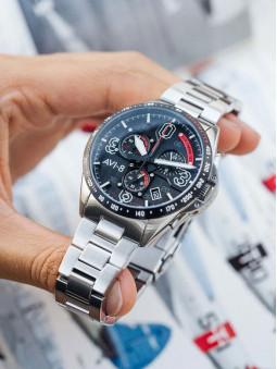 Presentation de la montre Avi-8, cadran large bleu chiffre, multifonction, collection Mustang, reference AV-4077-22