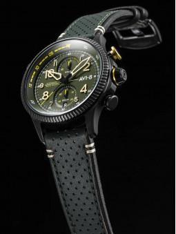 Montre avi-8, d'aviateur, armee, avec son bracelet en cuir kaki, ses surpiqures apparentes