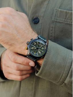 Montre aviateur, armee, bracelet cuir kaki, marque Avi-8, Cosford AV-4080-03