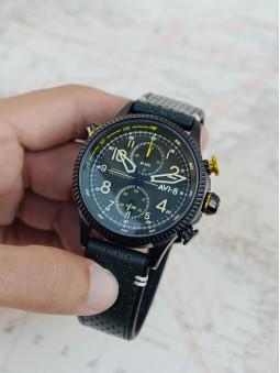 Montre entiere, montre avi-8 aviateur, de couleur kaki, pour homme
