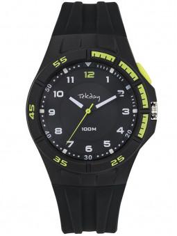 Montre Tekday silicone noir lunette vert citron 654683