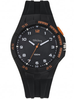 Montre sport Tekday silicone noir orange 654683