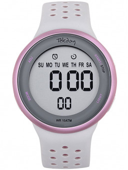 Montre Tekday digitale silicone gris rose 655958