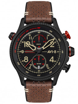 Montre Avi-8 aviateur Hawker Hunter cuir marron rouge AV-4080-04