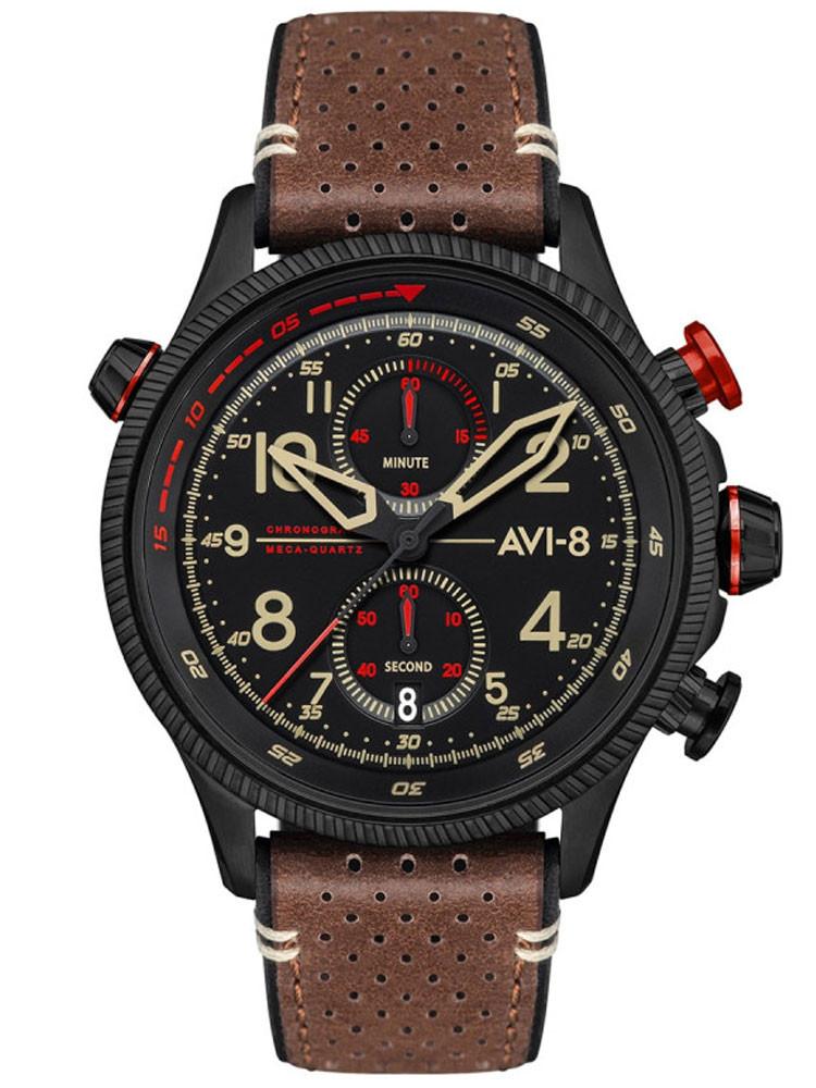Montre Avi-8 aviateur Hawker Hunter cuir marron rouge AV-4080-04