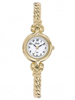 Montre fine Joalia, pour femme, dorée jaune, avec un bracelet bijou style gourmette, référence : 630502