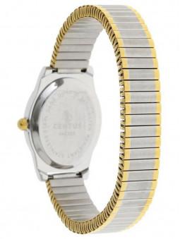 Arrière de la montre pour femme, marque Certus, gris argent et doré, bracelet élastique