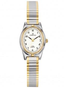 Montre femme Certus gris argent doré bracelet élastique
