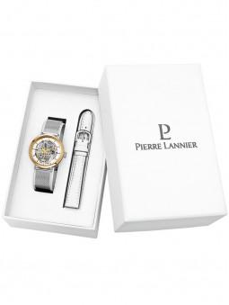 Coffret Montre femme Automatique cadran Squelette deux bracelets cuir et milanais Pierre Lannier 358F608