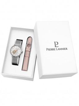 Coffret Montre Automatique Coeur ouvert Pierre Lannier avec deux bracelets cuir et milanais 361J628