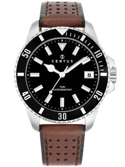 Montre sport Certus homme bracelet cuir marron 611111