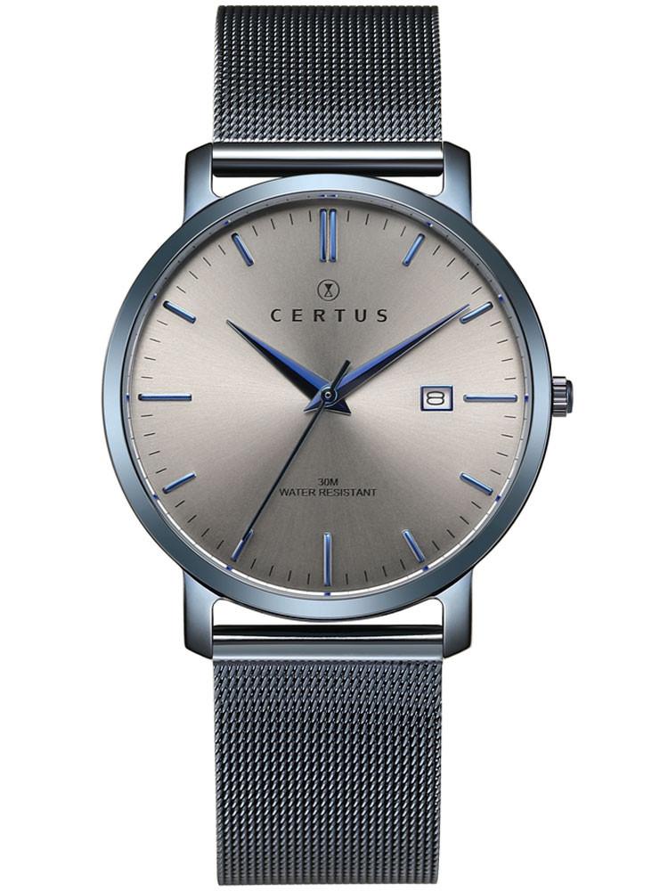 Montre moderne Certus bracelet milanais gris fonce bleu electrique 616482