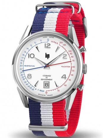 Nouvelle montre lip courage et devouement avec son bracelet tissus tricolore bleu blanc rouge