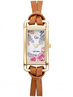 Montre fleur Go Girl cuir marron clair 699351, bracelet double lanières