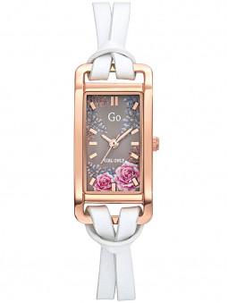 Montre fleur Go Girl cuir blanc 699352, bracelet double lanières